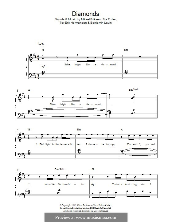 Diamonds (Rihanna): Für Klavier by Benjamin Levin, Mikkel Storleer Eriksen, Sia Furler