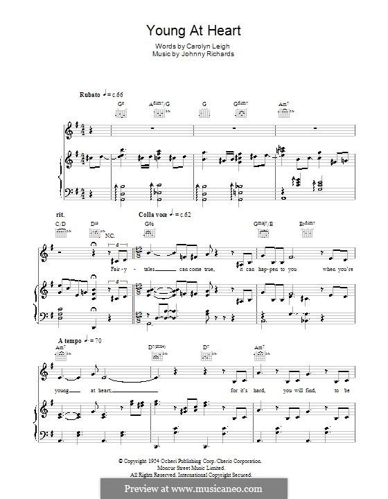 Young at Heart: Für Stimme und Klavier (oder Gitarre) by Johnny Richards