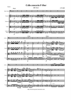 Concerto for Cello and Strings in F Major, RV 412: Score and all parts by Antonio Vivaldi