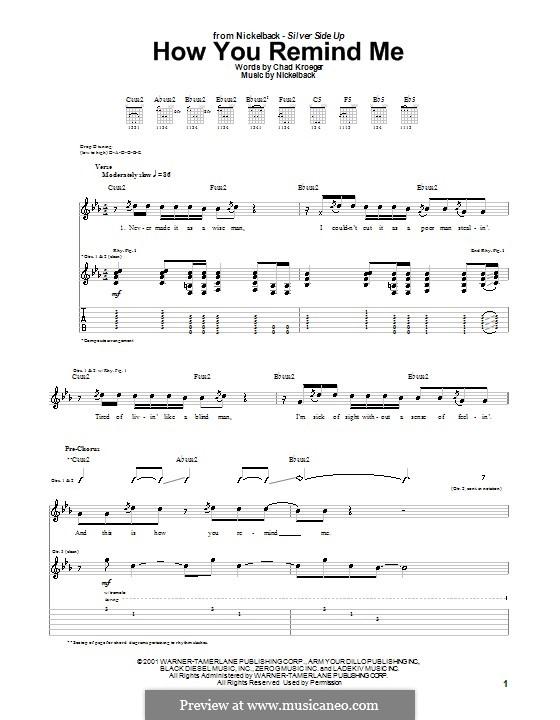 How You Remind Me (Nickelback): Für Gitarre mit Tab by Chad Kroeger, Michael Kroeger, Ryan Peake, Ryan Vikedal