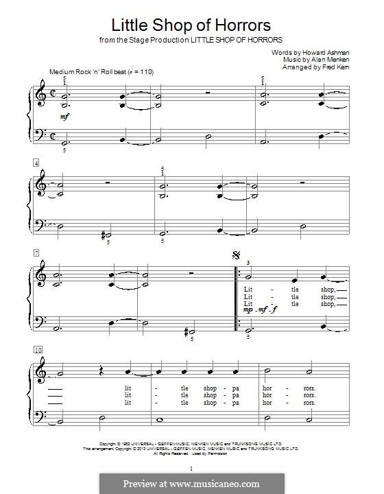 Little Shop of Horrors: Für Klavier by Alan Menken