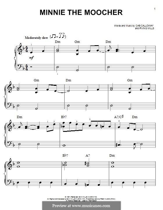 Minnie the Moocher: Für Klavier by Irving Mills, Cab Calloway