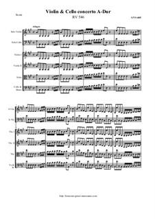 Concerto for Violin, Cello and Strings in A Major, RV 546: Score and all parts by Antonio Vivaldi