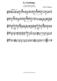 La Vendange - simple arrangement for guitar: La Vendange - simple arrangement for guitar by folklore