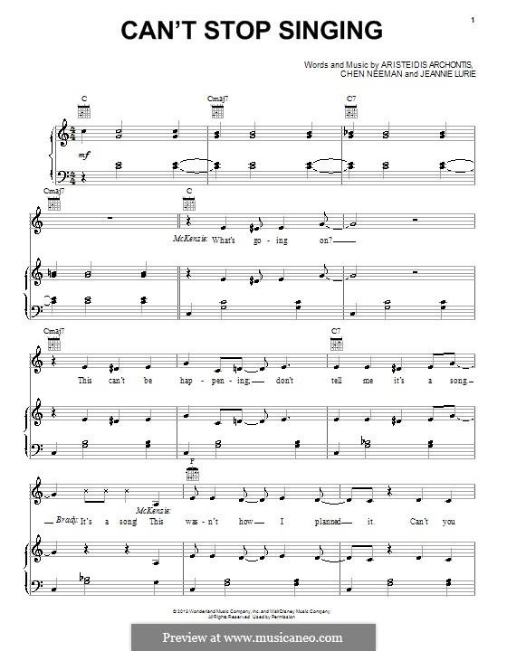 Can't Stop Singing (from Teen Beach Movie): Für Stimme und Klavier (oder Gitarre) by Aris Archontis, Chen Neeman, Jeannie Lurie