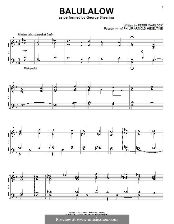 Balulalow: Für Klavier by Peter Warlock