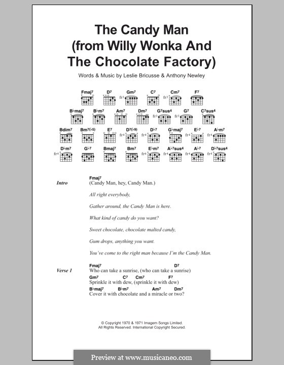 The Candy Man (from Willy Wonka and The Chocolate Factory): Texte und Akkorde by Anthony Newley