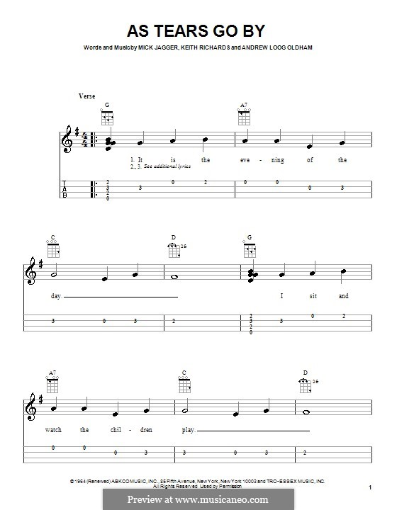 As Tears Go By (The Rolling Stones): Für Ukulele by Keith Richards, Mick Jagger