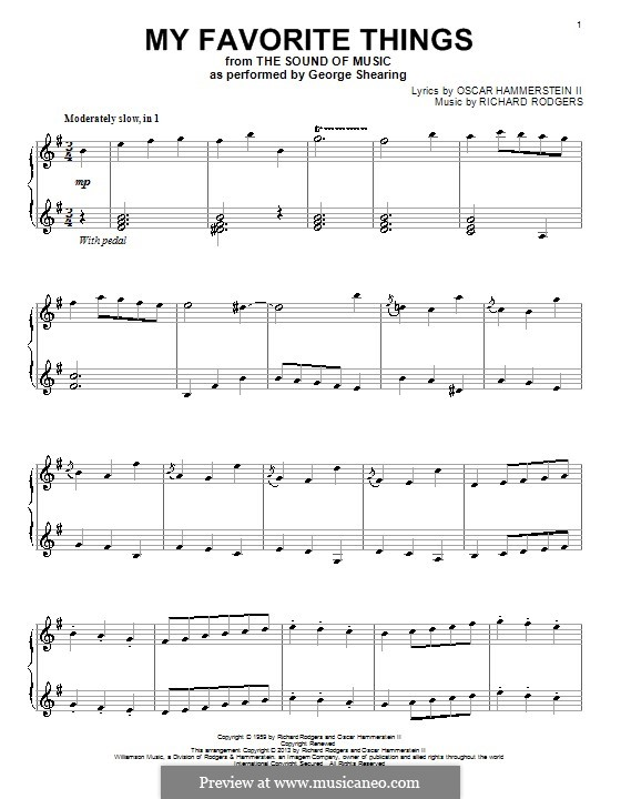 My Favorite Things (from The Sound of Music), for Piano: Für einen Interpreten by Richard Rodgers