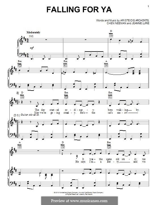 Falling for Ya (from Teen Beach Movie): Für Stimme und Klavier (oder Gitarre) by Aris Archontis, Chen Neeman, Jeannie Lurie