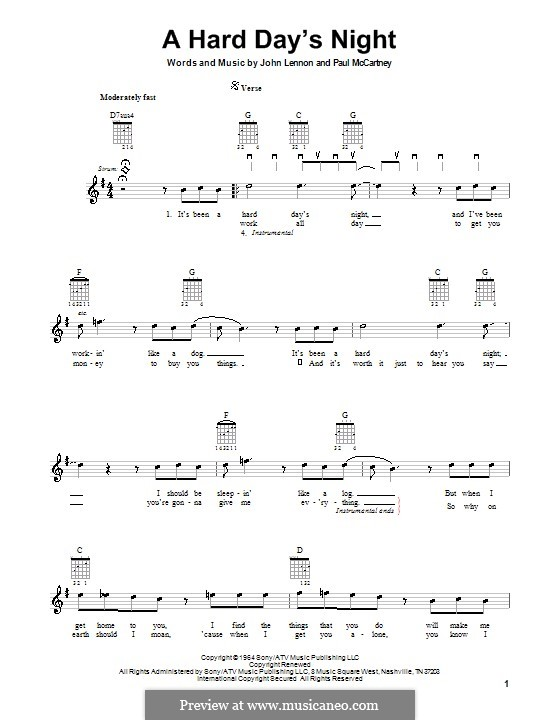 A Hard Day's Night (The Beatles): For electric guitar by John Lennon, Paul McCartney