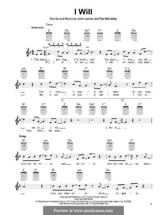 I Will (The Beatles): For electric guitar by John Lennon, Paul McCartney