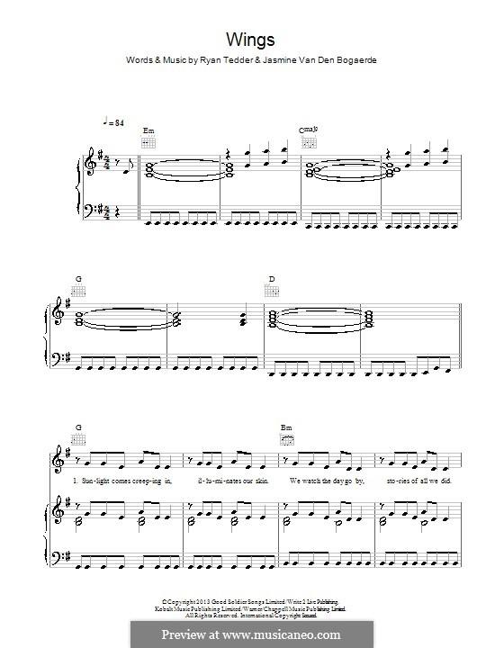 Wings: Für Stimme und Klavier (oder Gitarre) by Birdy, Ryan B Tedder