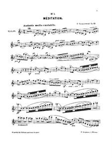 Souvenir d'un lieu cher (Memory of a Dear Place), TH 116 Op.42: No.1 Méditation – solo part by Pjotr Tschaikowski