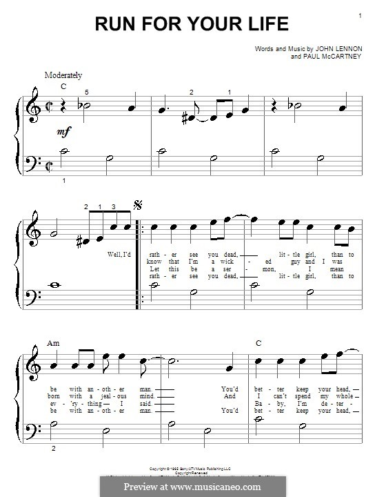 Run for Your Life (The Beatles): Für Klavier by John Lennon, Paul McCartney