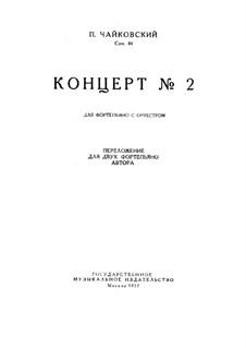 Konzert für Klavier und Orchester Nr.2 in G-Dur, TH 60 Op.44: Version für zwei Klaviere by Pjotr Tschaikowski