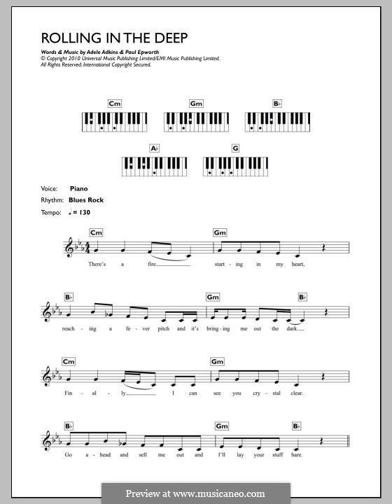 Rolling in the Deep: Für Keyboard by Adele, Paul Epworth