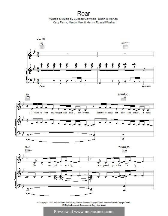 Roar: Für Stimme und Klavier (oder Gitarre) by Bonnie McKee, Katy Perry, Lukas Gottwald, Max Martin, Henry Russell Walter