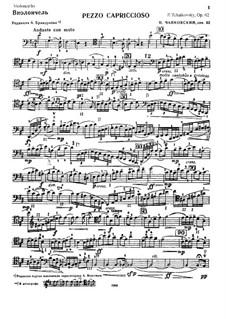 Pezzo Capriccioso für Cello und Orchestre, TH 62 Op.62: Solostimme by Pjotr Tschaikowski