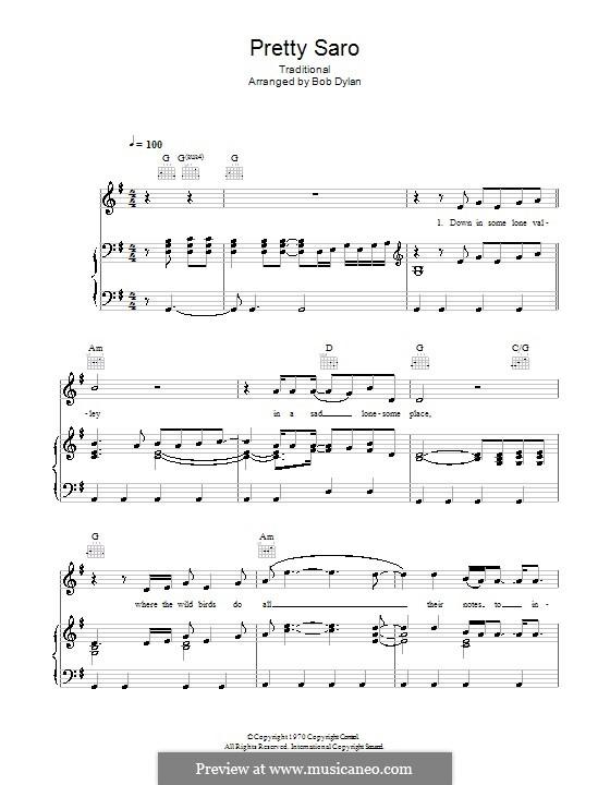 Pretty Saro: Für Stimme und Klavier (oder Gitarre) by folklore