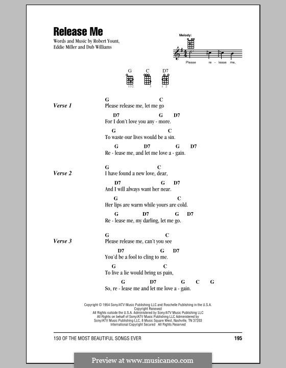 Release Me (Engelbert Humperdinck): Für Ukulele by Dub Williams, Eddie Miller, Robert Yount