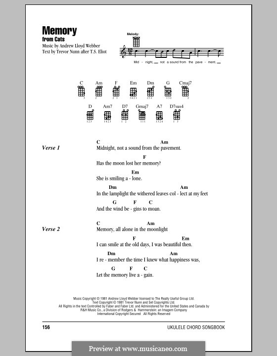Memory (from Cats): Für Ukulele by Andrew Lloyd Webber
