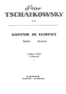 Streichsextett 'Souvenir de Florence', TH 118 Op.70: Violinstimme by Pjotr Tschaikowski