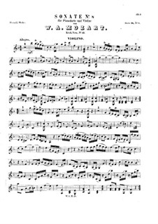 Sonate für Violine (oder Flöte) und Klavier Nr.8 in F-Dur, K.13: Partitur, Solostimme by Wolfgang Amadeus Mozart