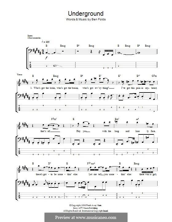 Underground (Ben Folds Five): Für Bassgitarre mit Tabulatur by Ben Folds
