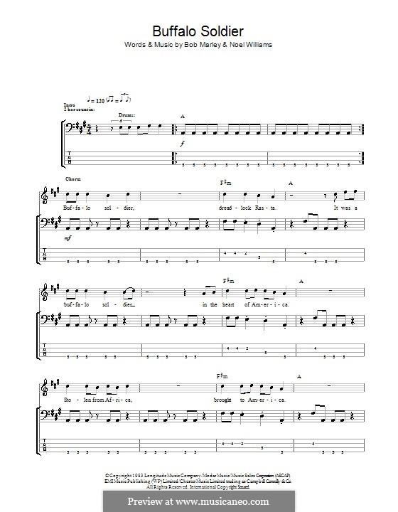 Buffalo Soldier (Bob Marley): Für Bassgitarre mit Tabulatur by Noel Williams