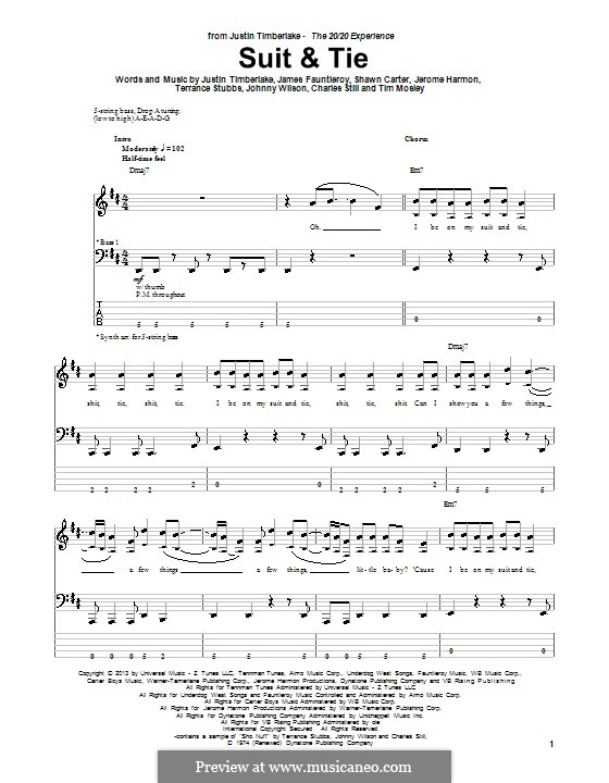 Suit & Tie (Justin Timberlake feat. Jay-Z): Für Bassgitarre mit Tabulatur by James Fauntleroy II, Jerome Harmon, Justin Timberlake, Jay-Z, Timbaland