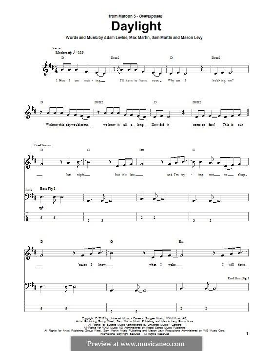 Daylight (Maroon 5): Für Bassgitarre mit Tabulatur by Adam Levine, Mason Levy, Max Martin, Sam Martin