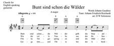 Bunt sind schon die Wälder: For voice and guitar chord names by Johann Friedrich Reichardt