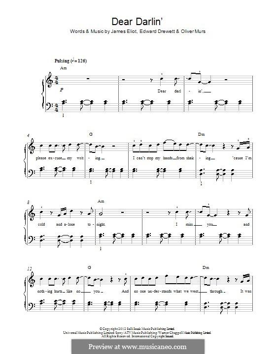 Dear Darlin': Für Klavier by Ed Drewett, James Eliot, Olly Murs
