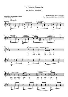 La donna è mobile (Over the Summer Sea): For tenor and guitar by Giuseppe Verdi