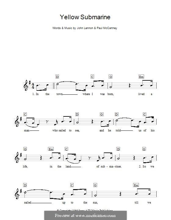 Yellow Submarine (The Beatles): Für Keyboard by John Lennon, Paul McCartney