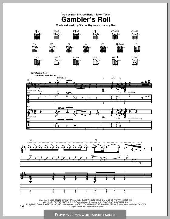 Gambler's Roll (The Allman Brothers Band): Für Gitarre mit Tab by Warren Haynes, Johnny Neel