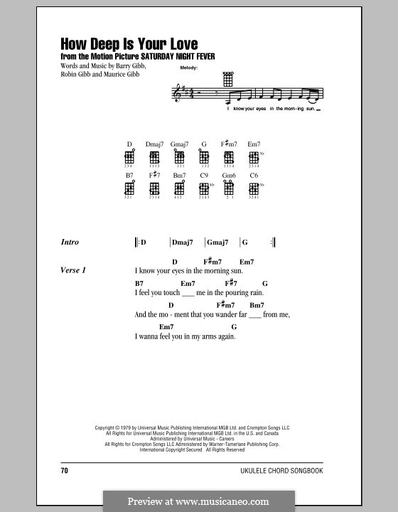 How Deep Is Your Love (The Bee Gees): Für Ukulele by Barry Gibb, Maurice Gibb, Robin Gibb