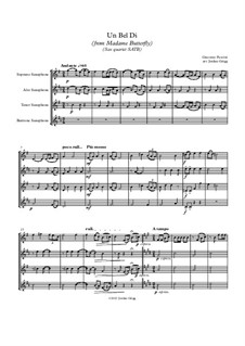 Madama Butterfly : Un bel dí, for sax quartet SATB by Giacomo Puccini