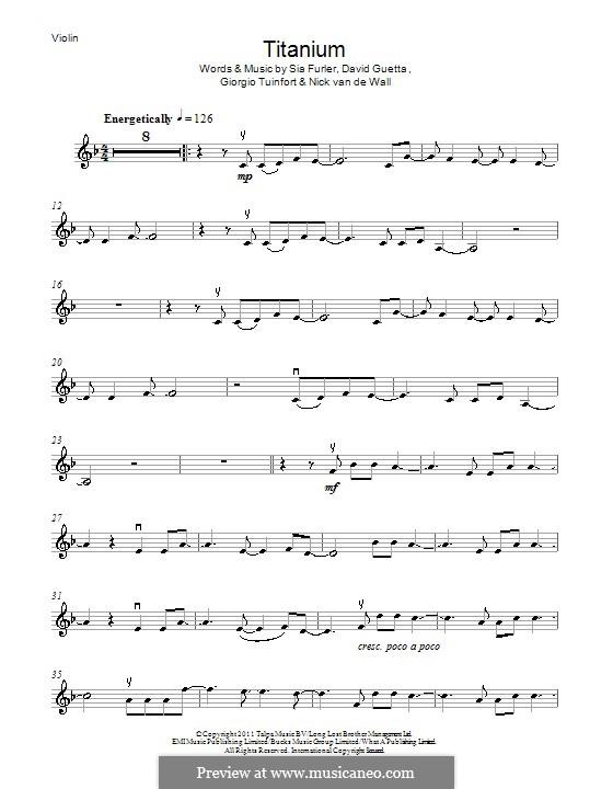 Titanium: Für Violine by David Guetta, Giorgio Tuinfort, Nick van de Wall, Sia Furler