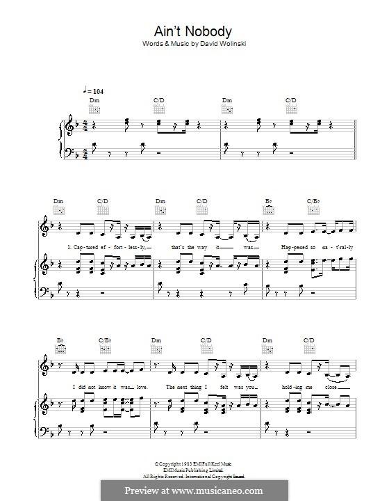 Ain't Nobody (Chaka Khan): Für Stimme und Klavier (oder Gitarre) by David Wolinski