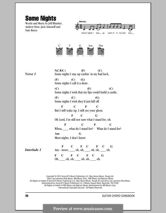 Some Nights (Fun): Texte und Akkorde by Jeff Bhasker, Jack Antonoff, Andrew Dost, Nathaniel Ruess