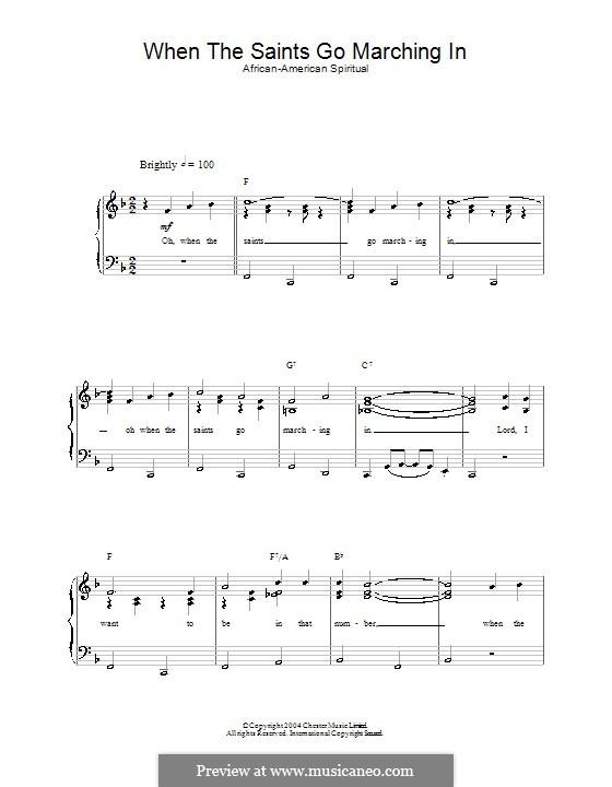 When the Saints Go Marching in: Für Stimme und Klavier by folklore
