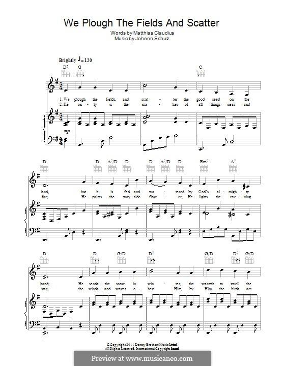 We Plow the Fields and Scatter: Für Stimme und Klavier (oder Gitarre) by Johann Abraham Schulz
