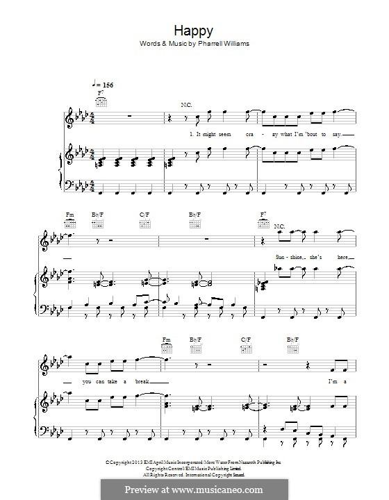 Happy (from Despicable Me 2): Für Stimme und Klavier (oder Gitarre) by Pharrell Williams