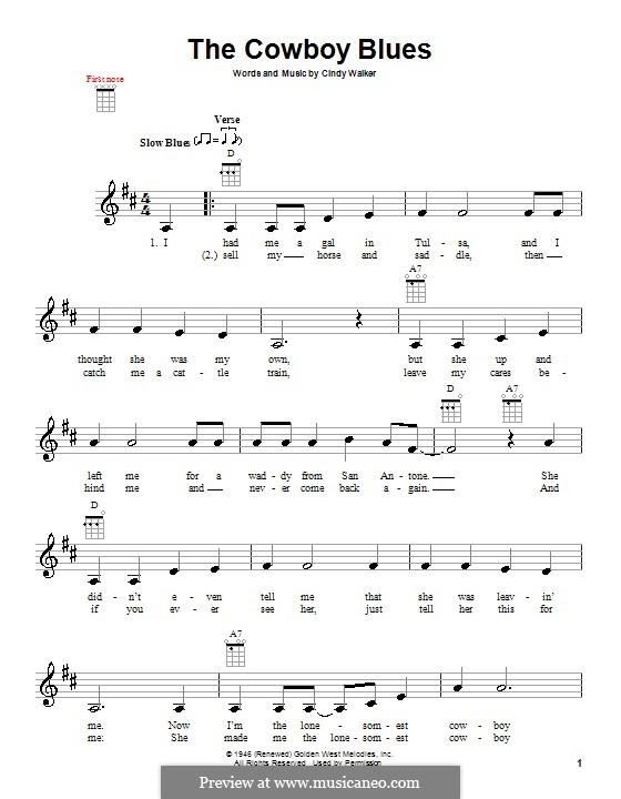 The Cowboy Blues: Für Ukulele by Cindy Walker