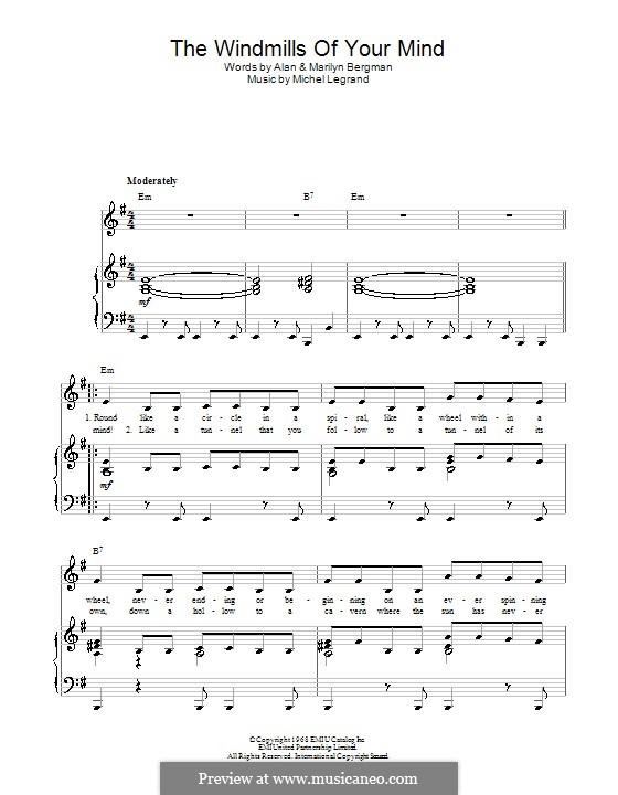 The Windmills of Your Mind (from The Thomas Crown Affair): Für Stimme und Klavier (oder Gitarre) by Michel Legrand