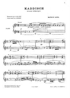 Zwei hebräischen Melodien: No.1 Kaddisch by Maurice Ravel