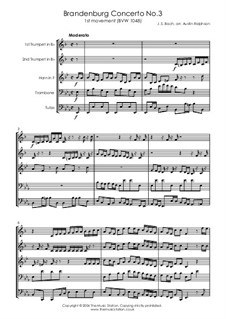 Brandenburgisches Konzert Nr.3 in G-Dur, BWV 1048: Movement I, for brass quintet by Johann Sebastian Bach