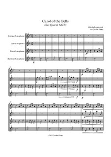 Carol of the Bells: For sax quartet SATB by Mykola Leontovych